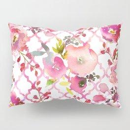 Pink coral violet watercolor floral quatrefoil pattern Pillow Sham