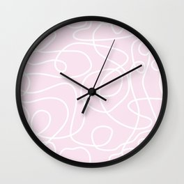 Doodle Line Art | White Lines on Palest Pink Wall Clock