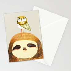 Sloth and Owl. Stationery Cards