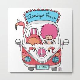 flamingo van bus cute girl Metal Print