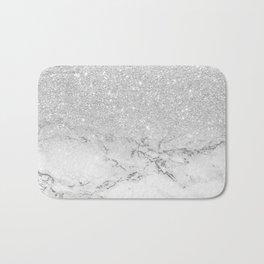 Modern faux grey silver glitter ombre white marble Bath Mat