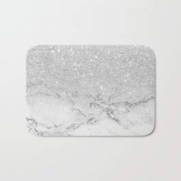 Modern faux grey silver glitter ombre white marble Badematte