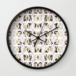 Modern Marble Gold Blush Pink Geometric Wall Clock