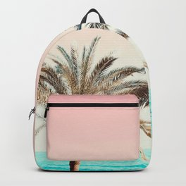 Modern California Vibes pink sky blue seascape tropical palm tree beach photography Backpack