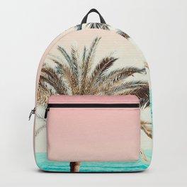 Modern California Vibes pink sky blue seascape tropical palm tree beach photography Backpack