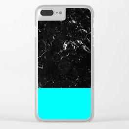 Aqua Blue Meets Black Marble #1 #decor #art #society6 Clear iPhone Case