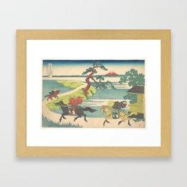 Japanese Print Three Horse Riders Framed Art Print
