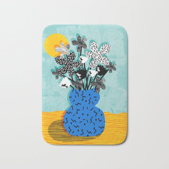 Fave - memphis throwback retro still life flower vase with floral bouquet abstract Bath Mat