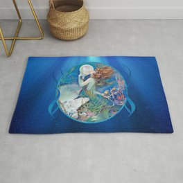 Sensual Art Deco Pearl Mermaid Rug