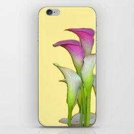 PURPLE & WHITE CALLA LILIES FLORAL YELLOW ART iPhone Skin