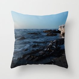 Sea Washes over the Rocks in Spring Throw Pillow