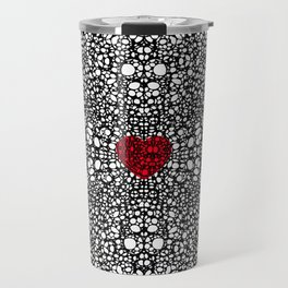Pattern 19 - Heart Art - Black And White Exquisite Pattern By Sharon Cummings Travel Mug