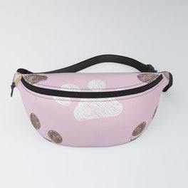 Brown paw print pink background Fanny Pack