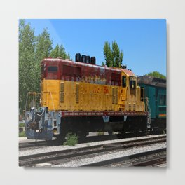 Yellow Red Engine In The Traindepot Metal Print
