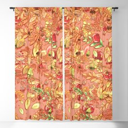 apples and leaves autumn vintage pattern Blackout Curtain