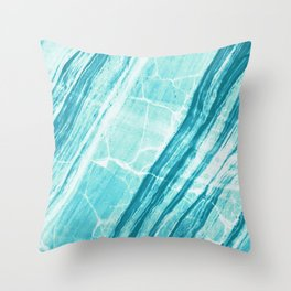Abstract Marble - Teal Turquoise Throw Pillow