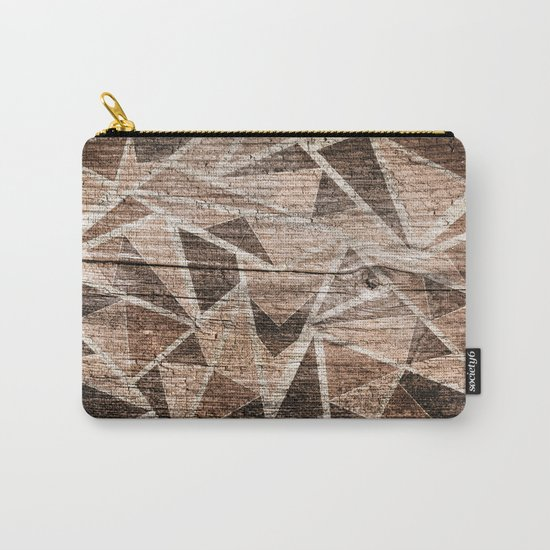 Old wood . Brown triangles . Carry-All Pouch