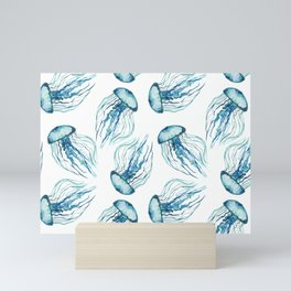 Watercolor Aqua Jellyfish Mini Art Print