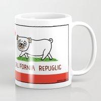gemma Mugs featuring California RePuglic by gemma correll