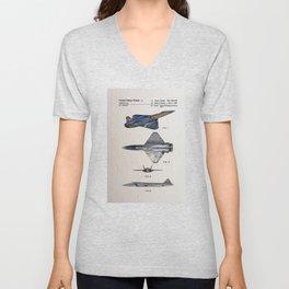 Fighter Jet Patent color Unisex V-Neck