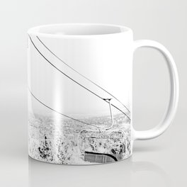 Chairlift // Mountain Ascent Black and White City Photograph Coffee Mug