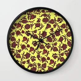 red flowers and leaves . art Wall Clock