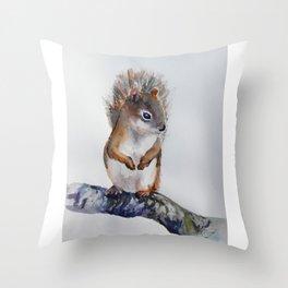 Watercolor Baby Squirrel Woodland Animals Nursery Series Throw Pillow