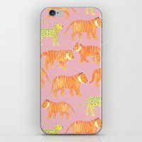 tigers iPhone & iPod Skins featuring Pink Tigers by Sian Keegan