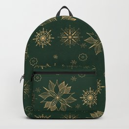 Elegant Gold Green Poinsettias Snowflakes Winter Design Backpack