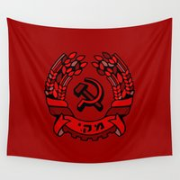 israel Wall Tapestries featuring Maki Rakah Israel communist party coat of arms hammer sickle by Sofia Youshi