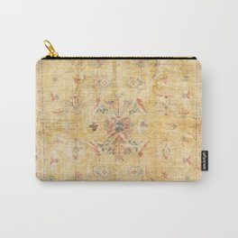 Craft Carpet Century Authentic Colorful Dull Yellow Golden Distressed Vintage Rug Pattern Carry-All Pouch