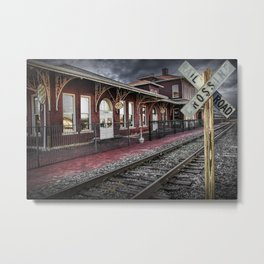 Old Train Station with Crossing Sign in Gutherie Oklahoma No.0840 A Fine Art Railroad Landscape Phot Metal Print