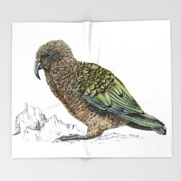 Mr Kea, New Zealand parrot Throw Blanket