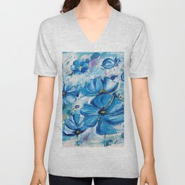 Abstract Blue Poppies Unisex V-Neck