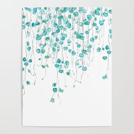 string of hearts watercolor Poster