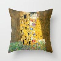 gustav klimt Throw Pillows featuring Gustav Klimt The Kiss by Art Gallery
