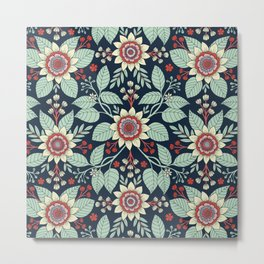 Red, Turquoise, Cream & Navy Blue Floral Pattern Metal Print