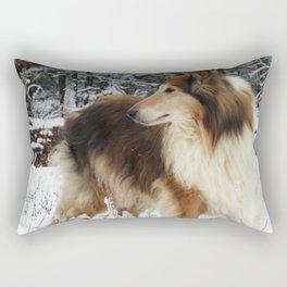 Winter Collie Rectangular Pillow