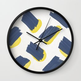 Navy + Yellow Pttrn Wall Clock