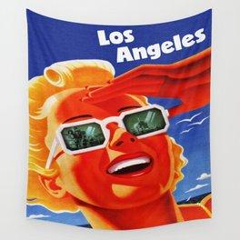 Retro Los Angeles California Travel Poster Wall Tapestry