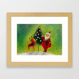 Santa and his Reindeer Framed Art Print