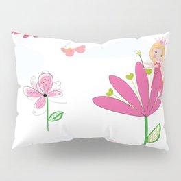 Summer Flowers, Butterflies and Fairy Pattern Wallpaper Pillow Sham