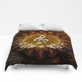 Music, wonderful decorative clef Comforters