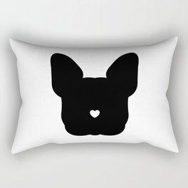 French-Bulldog Face Black Heart Nose Baby Frenchie Rectangular Pillow