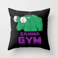 gym Throw Pillows featuring gamma gym by Louis Roskosch