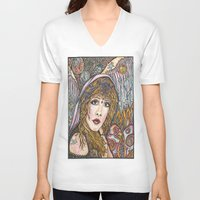 stevie nicks V-neck T-shirts featuring BLAME IT ON MY WILD HEART, STEVIE NICKS by Dream A Little Designs