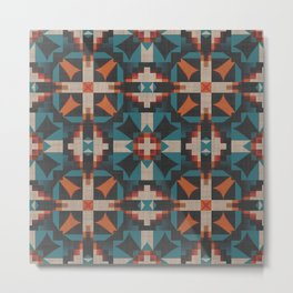 Teal Blue Coral Orange Red Ethnic Mosaic Pattern Metal Print