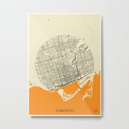 Toronto Map Moon Metal Print