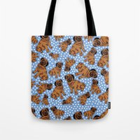 pugs Tote Bags featuring spotty pugs by lindseyclare