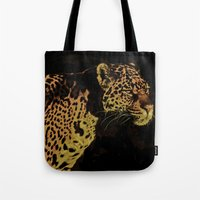jaguar Tote Bags featuring Jaguar by Die Farbenfluesterin
